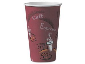 SOLO Cup Company Bistro Design Hot Drink Cups, Paper, 16 oz., Maroon, 300/Carton