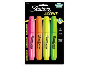 Sharpie 1733165 Accent Jumbo Highlighters, Chisel Tip, Fluorescent Green/Orange/Pink/Yellow,4/Pk