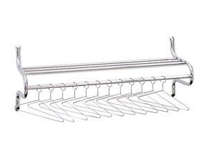Safco Wall Shelf Rack, 12 Non-Removable Hangers, Metal, Chrome-Plated