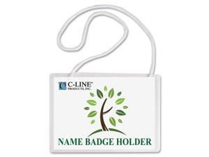 Biodegradable Name Badge Holder Kits, Top Load, Clear, 4 x 3, 50/Box