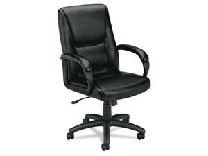 basyx VL161SB11 VL161 Executive Mid-Back Chair, Black Leather