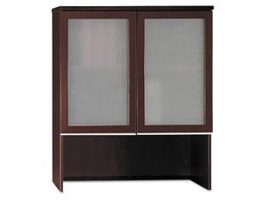 BUSH FURNITURE Milano² Collection Bookcase Hutch With Glass Doors, Harvest Cherry