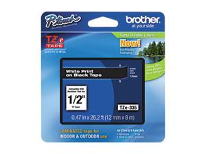 Brother TZE335 TZe Standard Adhesive Laminated Labeling Tape, 1/2w, White on Black