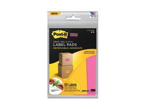 Super Sticky Removable Label Pads, 2-7/8w x 4-5/8h, Orange/Pink, 50 Labels/Pack