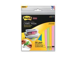 Super Sticky Removable Label Pads, Asst Sizes/Colors, 6 Pads/Pack, 150 Labels/PK