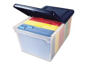 Innovative Storage Designs               File Tote Storage Box with Lid, Letter, Plastic, Clear/Navy