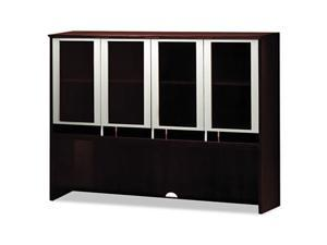 Mayline Napoli Series Assmbld Hutch with Glass Doors, 63w x 15d x 50½h, Mahogany
