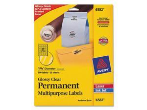 "Permanent I.D. Labels, 1 2/3"" dia., Clear, 500/Pack"