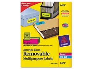 Removable Self-Adhesive Color-Coding Labels, 1 x 2-5/8, Assorted Neon, 360/Pack
