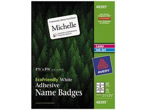 Avery 48395 EcoFriendly Name Badge Labels, 2-1/3 x 3-3/8, White, 80/Pack