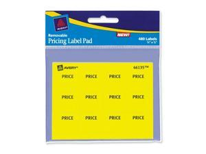 Permanent Label Pads, 3/4 x 7/8, Yellow, 480/Pack