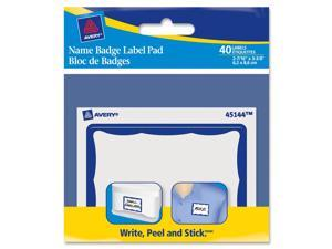 Name Badge Label Pads, 3 x 4, Blue/White, 40/Pack