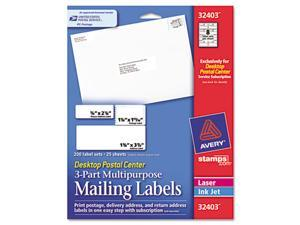 Desktop Postal Center 3-Part Mailing Labels, Three sizes, White, 200 Labels/Pack