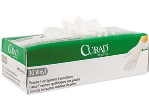 Curad CUR8234 3G Synthetic Vinyl Powder-Free Exam Gloves, Small, 100/Box