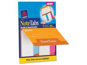 "Avery                                    NoteTabs-Notes, Tabs and Flags in One, Neon Blue/Magenta/Yellow, 2/3"", 25/PK"