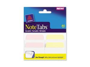 Avery 16292 NoteTabs-Notes, Tabs and Flags, Pastel Yellow, Pink/Clear, Two Inch, 40/Pack