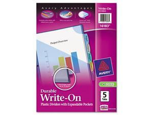Avery                                    Translucent Multicolor Write-On Dividers with Pocket, 8-Tab, Letter, 1 Set