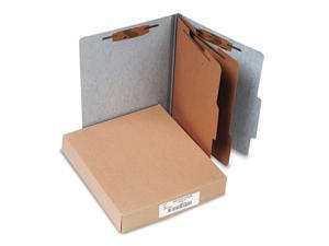 ACCO                                     Presstex 20-Point Classification Folders, Letter, Six-Section, Gray, 10/Box