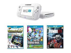 Nintendo Wii U 8GB Nintendoland, New Super Mario Bros Wii U and ZombiU Bundle White