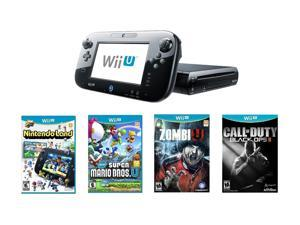 Nintendo Wii U 32GB Bundle w/New Super Mario Bros Wii U, Call of Duty Black Ops 2 and Zombi U Black