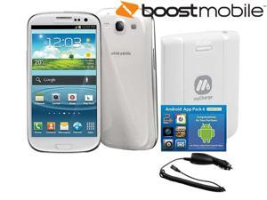 Samsung Galaxy S3 BoostGS3 White LTE Locked 16GB Android GSM Smart Phone Bundle for Boost Mobile