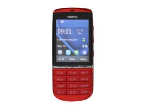 "Nokia Asha 300 Red 3G Unlocked GSM Bar Phone / 5 MP Camera / 2.4"" Touchscreen (Asha 300)"