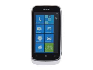 "Nokia Lumia 610 White 3G Single-Core 800MHz 8GB Unlocked GSM Windows Smart Phone w/ Wi-Fi / Bluetooth / 5 MP Camera / 3.7"" ..."