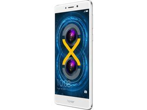 "Huawei - Honor 6X Unlocked Smartphone with Dual Camera (5.5"" Silver, 32GB Storage 3GB RAM) US Warranty"