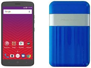 Virgin Mobile ZTE Max XL with Powerocks Cirrus Power Bank Blue