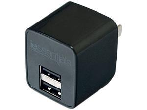 DigiPower - iEssentials - 2.4amp Dual USB Wall Charger - Black