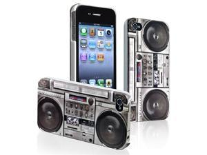 Insten Vintage Radio Hard Hybrid Case+Car+USB AC Charger+3.5mm Cord For iPhone 4 4G 4S