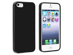 Insten Black Jelly TPU Rubber Skin Case + Black Stylus Pen Compatible with Apple iPhone 5
