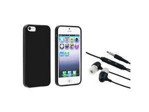 Insten Black Jelly TPU Rubber Skin Case + In-ear (w/on-off) Stereo Headsets Compatible with Apple iPhone 5