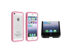 Insten Clear/ Hot Pink Bumper TPU Case with Aluminum Button + White Docking Port Cap Compatible with Apple iPhone 5