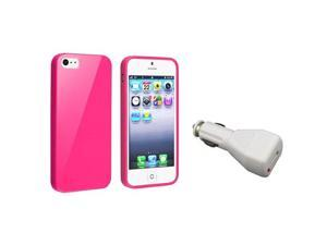 Insten Hot Pink Jelly TPU Rubber Skin Case + White Car Charger Adapter Compatible with Apple iPhone 5