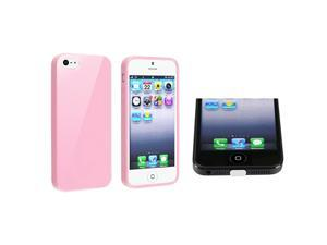 Insten Light Pink Jelly TPU Rubber Skin Case + White Docking Port Cap Compatible with Apple iPhone 5