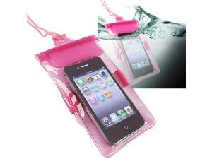 Insten Pink Waterproof Bag Case Cover And Car And AC Wall Charger Compatible With iPhone 5 / 5s / 5c 4s 3GS 908891