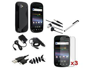 Insten 10 in 1 Black TPU Case+Clear LCD+Car+AC Charger+USB For Samsung Google Nexus S