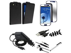 Insten 7 Bundle Flip Leather Case+Mirror SP+Charger For Samsung Galaxy S III S3 i9300