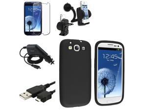 Insten Black Silicone Case+Clear LCD+Charger+USB+Mount For Samsung Galaxy S3 SIII i9300