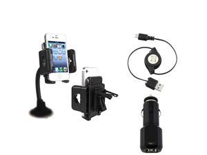 Insten Car 3-1 Phone Holder+Black 2-Port USB Car Charger for Samsung Galaxy Nexus Note