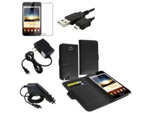 Insten For Samsung Galaxy Note N7000 Wallet Flip Leather Case+LCD SP+2x Charger+Cord