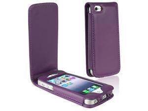 Insten Purple Leather Case + White In-ear (w/on-off) Stereo Headsets compatible with Apple iPhone 5