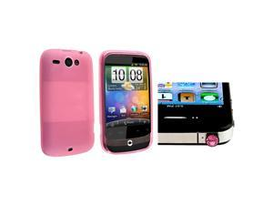 Insten Pink TPU Rubber Case with Pink Diamond Headset Dust Cap Compatible with HTC Wildfire