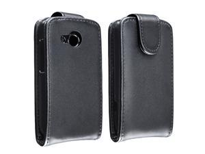 Insten Black Leather Flip Case with  Reusable Screen Protector Compatible with HTC Desire C
