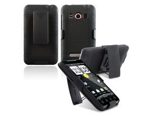 Insten Black Swivel Holster Stand Case with 1 Charging Data Cable Compatible With HTC EVO 4G / Supersonic