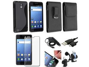 Insten 7 Accessory Black TPU Case Holder Charger LCD USB For Samsung Infuse 4G SGH-i997