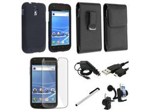 Insten 7in 1 Accessory Bundle Black Case Charger For T-Mobile Samsung Galaxy S II T989