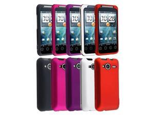 Insten Black + White + Red + Pink + Purple Snap-on Rubber Hard Case Cover For HTC EVO Shift 4G