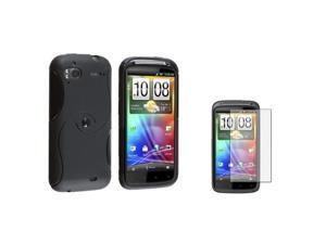 Insten Black Hybrid TPU Gel Skin Case Cover + Film For T-Mobile HTC Sensation 4G Z710E